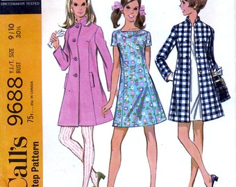 McCall's 9688 Vintage 60s Sewing Pattern for Young Junior or Teen Coat and Dress - Size 9 / 10