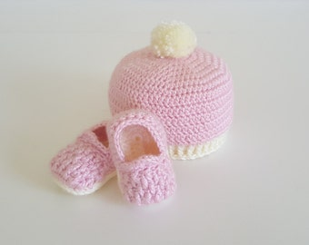 "Crochet Baby Hat and ""Woven"" Slippers"