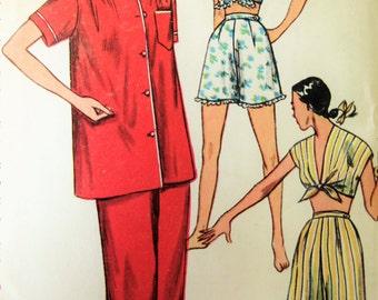 Vintage Simplicity  4312 Sewing Pattern, 1950s Pajamas Pattern, Shortie PJs Pattern, Bust 32, 1950s Sewing Pattern, Midriff Top Pattern