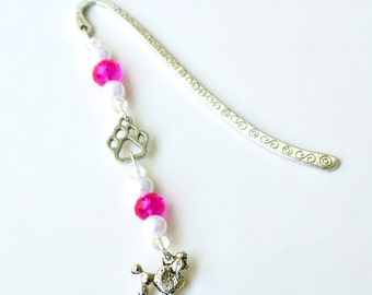 Poodle Bookmark- Dog Charm, Pink Beaded Bookmark, Dog Lover Gift, Book Club Gift, Reading Accessory, Pet Lover, Bookworm, Reading Gift