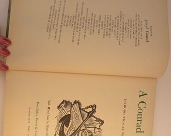 Large Joseph Conrad Compilation with Incredible Black and White Hans Mueller Woodcut Illustrations - 1942 Edition of Argosy - 713 Page Book