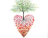 Heart tree watercolour print, Tree of life painting, Heart painting, Watercolour tree painting, heart illustration, Heart print, 8 11 inch