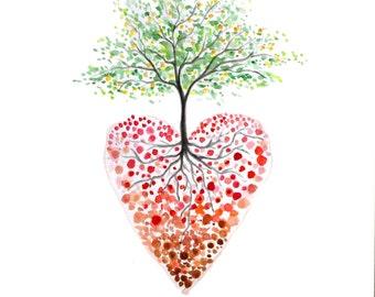 Tree of life art, Heart tree watercolour print, Heart painting print, Watercolour tree painting, heart illustration, Heart print, 8 10 inch