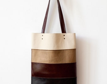 Clearance SALE Ombre Striped tote Leather Tote bag brown