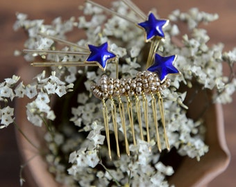From the stars - gold and royal blue hair comb