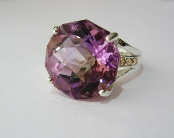 Top Grade Natural Bicolor Ametrine In Sterling Silver, Yellow Sapphire Accents Ring, 15.5ct. Size 7