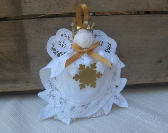 White Angel Ornament, Battenburg Lace Doily Angel, Tree Ornament, Holiday Angel, Angel Collector, Tree Decor, Gold White Angel, Traditional