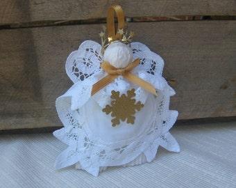 White Cotton Angel Ornament, Battenburg Lace Doily Angel, Tree Ornament, Holiday Angel, Angel Collector, Tree Decor, Gold White Angel
