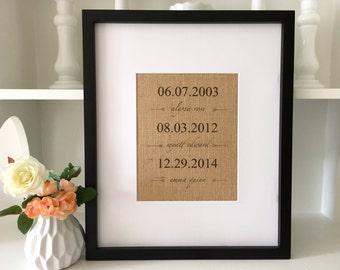 Nursery Decor | Birthday Gift for Mom | Custom Children's Birthdates | Personalized Burlap Print | Mother's Day Gift | Kids Names/ Birthday