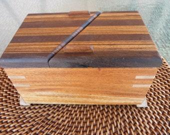 Handcrafted Honduran Mahogany,  Swivel Lid Jewelry/Keepsake Box