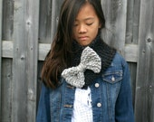 Knit Bow Scarf in Charcoal and Marble Grey // The Boathouse