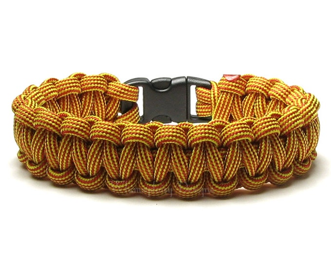 Paracord Bracelet Vibrations Yellow Red Stripes Gold Survival Camping Rope Trendy Outdoor Gear Hiker Flash Super Hero Teen Costume Accessory