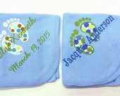 Baby Feet Thermal Blanket Name and Date