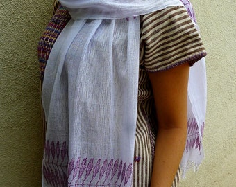 SALE Guatemalan handwoven gauze cotton scarf/shawl cochineal natural dye - Coban elegant resort wear -