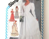 1980s Gunne Sax Wedding Dress Pattern Simplicity 5879 Womens Fitted Bodice Lace Overlay Formal Bridesmaid Dress Sewing Pattern Sz 16 Bust 38