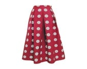Red Polka Dot Pleated Full Midi Skirt Size Large Size 8 10 Ready to Ship
