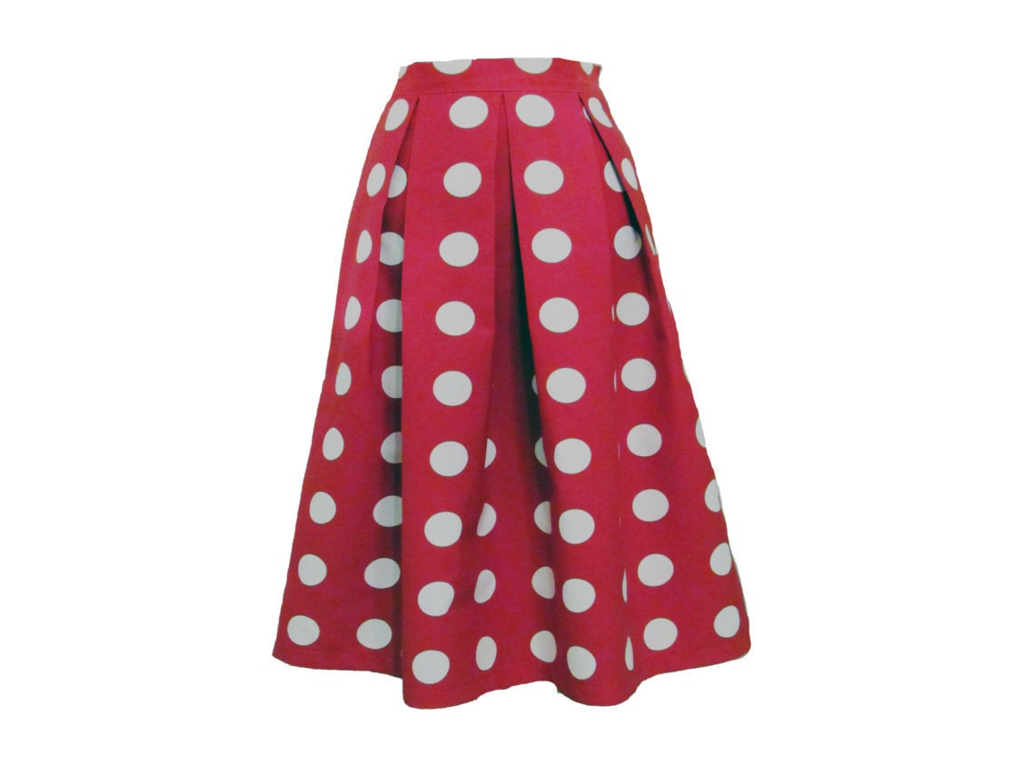 polka dot pleated midi skirt size large by