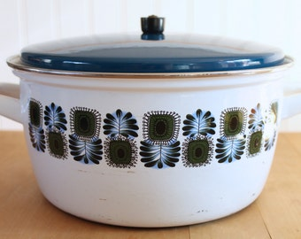 Vintage 1970's Universal Austria Blue + Green Floral Enamel Pot