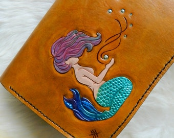 Ready To Ship Leather Mermaid Clutch Purse. Hand Carved Leather Mermaid Clutch. Leather Clutch Purse. mermaid gift clutch purse