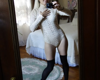 Sexy ecru beige nude long sleeve bodysuit leotard stretch ribbed pucker lace high neck vintage reproduction snap crotch sheer tight bodycon