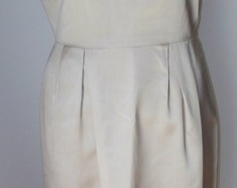 Satin Cocktail Dress Beige Tan V back with Bow Hand Crafted 1950s Vintage Dress