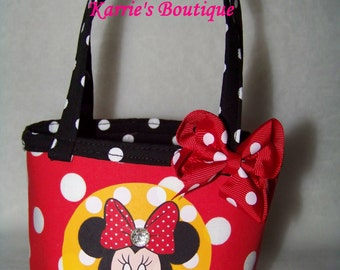 Minnie Mouse Reversible Purse / Disney /  Bow / Baby / Girl / Toddler / Handmade / Custom Boutique Clothing