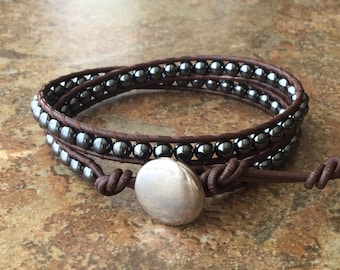 Hematite Wrap Bracelet, Brown Leather, Double Wrap, Brown and Black Bracelet, His Hers, Free Shipping