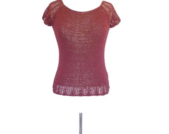 Merlot Boatneck Top. Vintage 90s Maroon Short Sleeve Crochet Knit Blouse. Extra Small - Small