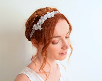 White lace bridal headband Swarovski pearls embroided