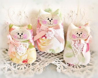 """3"""" Cat Ornaments Set of  3, Pastel, Spring Mothers Day Gift Ornies Bowl Fillers Party Favors Decorations Home Decor CharlotteStyle"""