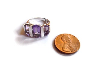 Vintage Amethyst Ring Sterling Contemporary 1980