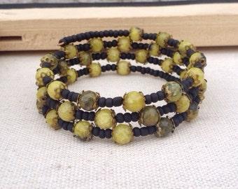 Yellow matrix jasper & matte black memory wire bracelet ~ One of a kind bohemian inspired jewelry