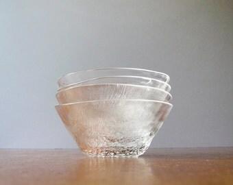 Four Vintage iittala Nuutajarvi Pioni Glass Bowls - Oiva Toikka