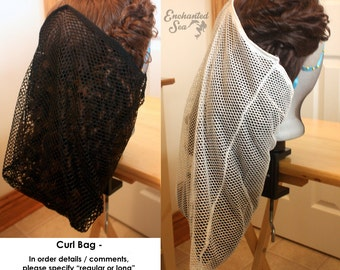 Curl Bag for Wigs and Hair ~ Helps support curls to keep the style longer!  Custom made.  Ready to Ship.