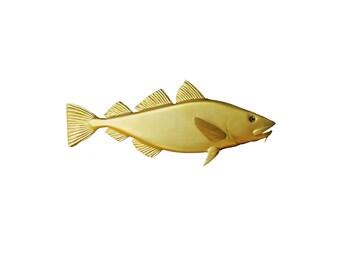 Golden Cod wood carving, 30'' home decor, wall decor, nautical decor, coastal living, New England decor beach decor, marine decor