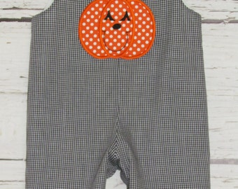 Boys Pumpkin Halloween Applique Longall Shortall Jon Jon Romper Fall Longall