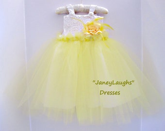 yellow fancy dress,enchanting dress,flower girl dress , spring wedding ,Easter dress ,