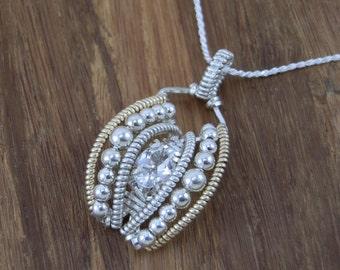 White Topaz Wire Wrapped Pendant - White Topaz Necklace - White Topaz Pendant - White Topaz Heady Wrap