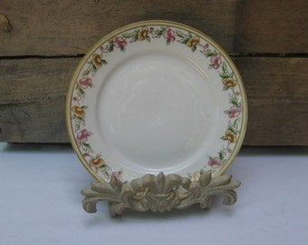 """Nippon Bread and Butter Plate, Vintage 6"""" Dessert Plate, White with Floral Trim, Small Floral Plate, Cottage Chic, Dinnerware"""