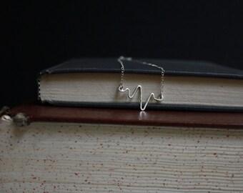 Heartbeat necklace - Silver EKG Necklace - Love Language Necklace - Silver Heartbeat Pendant - Hammered Silver EKG - Sterling Silver Jewelry