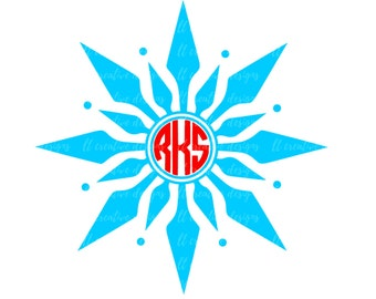Snowflake Monogram SVG, Snowflake Svg, Winter SVG, Christmas SVG, Silhouette Cut Files, Cricut Cut Files