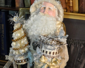 Santa art doll , one of a kind clay cloth and wire santa figure , vintage style santa