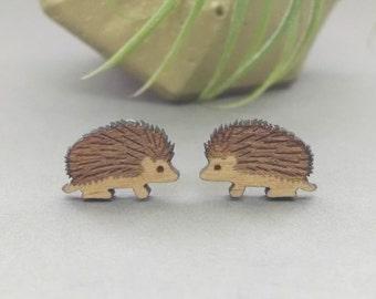 Hedgehog Earrings - Laser Engraved Wood - Titanium Stud Post Earring Pair