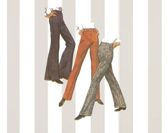 Easy to Sew Bell Bottom Pants Vintage 1960s McCalls Sewing Pattern 9517 Stove Pipe or Flared Pants Set Waist 25.5 Hip 36