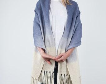 Indigo hand woven shawl, Ombre Blue blanket scarf wool, Indigo merino wool dip dye, eco fashion ombré wrap
