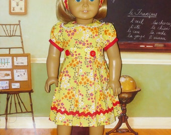 1930's Feed Sack Print Dress with Headband - Fits American Girl Doll Kit