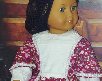 Circa 1870s Little Women Day Dress and Snood - Fits American Girl Dolls