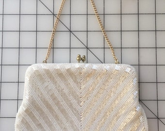 Vintage - 1960s/1970s Style White Chevron Beaded Bridal/ Wedding Clutch / Purse