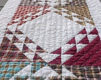 Geometric Plaid  Hand Quilted Table Runner Table topper North wind modern farmhouse cozy cabin cottage prairie farmhouse table decoration