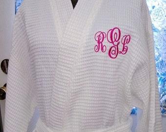 Personalized Robe Waffle Kimono Spa Front & Back Monogram